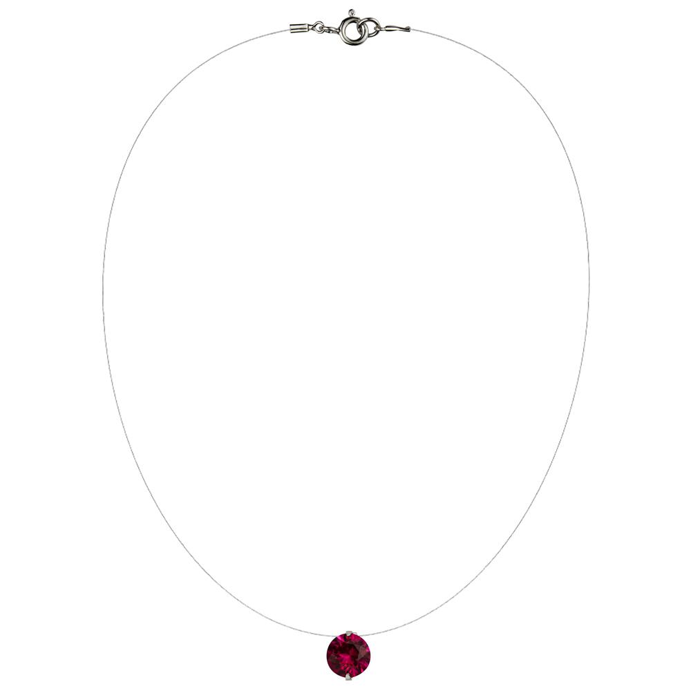 Lencia Red Cubic Zirconia Crystal Necklace - LLJ-BX100NL-R-NL