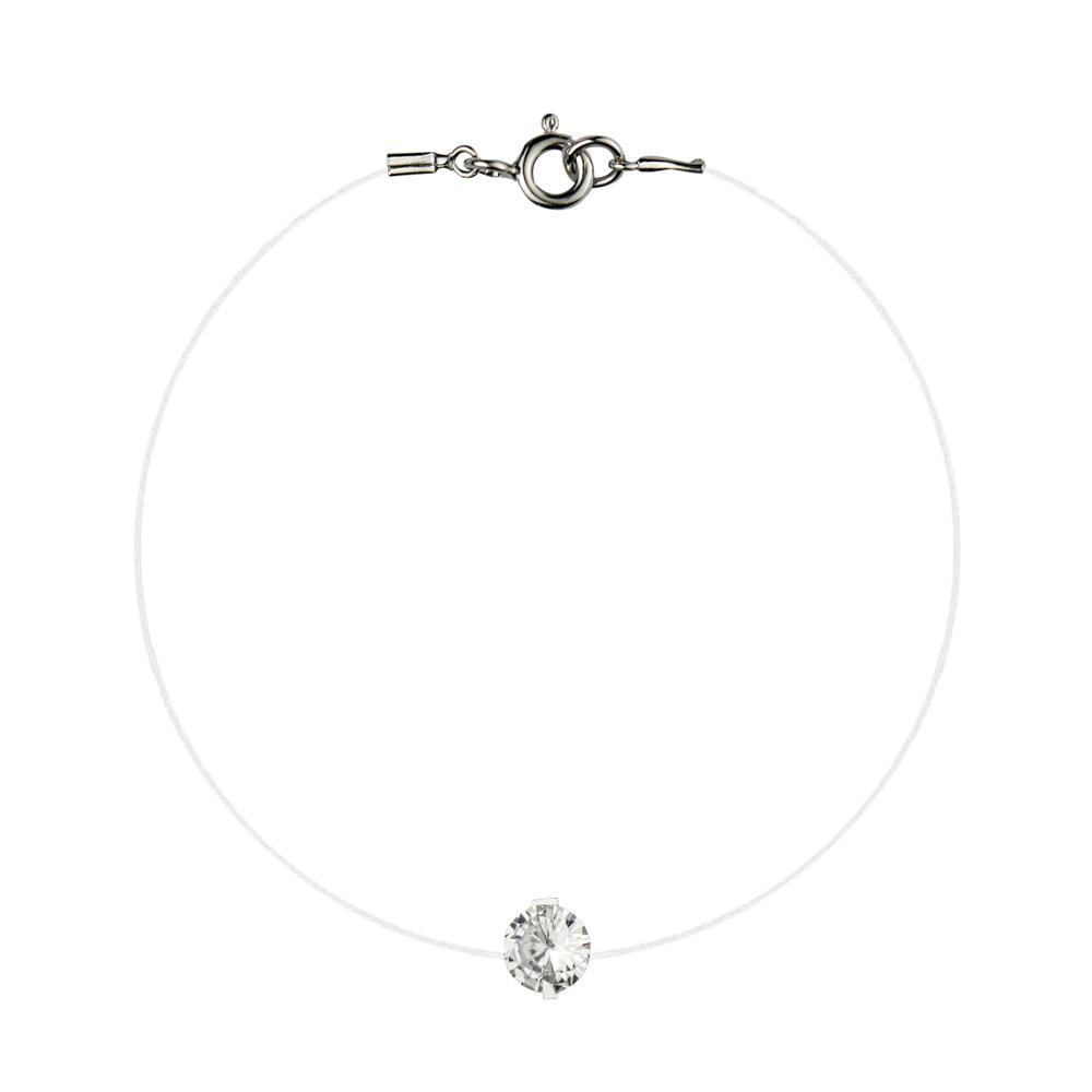 Lencia White Cubic Zirconia Crystal Bracelet - LLJ-BX100NL-W-BR