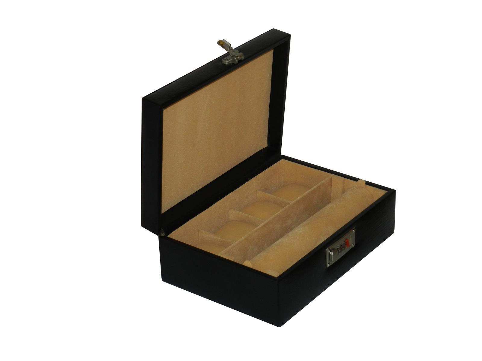 Laveri Genuine Leather Bracelet Jewelry Box with 1 Removable Rolls - Black BLACK