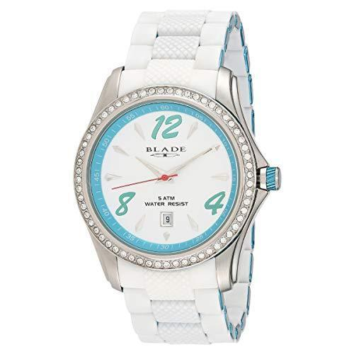 BLADE 13-3161U-SSB Unisex Watch- Quartz Movement - Blue Aluminum & Silicon Band - White Dial - Hardened Mineral Glass -5ATM Water Resistant.