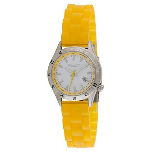 BLADE 15-3154L-Yl Womens Stainless Steel Case - Yellow Translucent Silicon Band - Quartz Movement - Hardened Mineral Glass -White Dial- 3ATM Water Resistant.