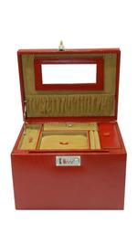 Laveri Jewellery Box Ring Necklace Earring Bracelet Storage Box Leather Multifunction Jewelry Organizer Box CHERRY