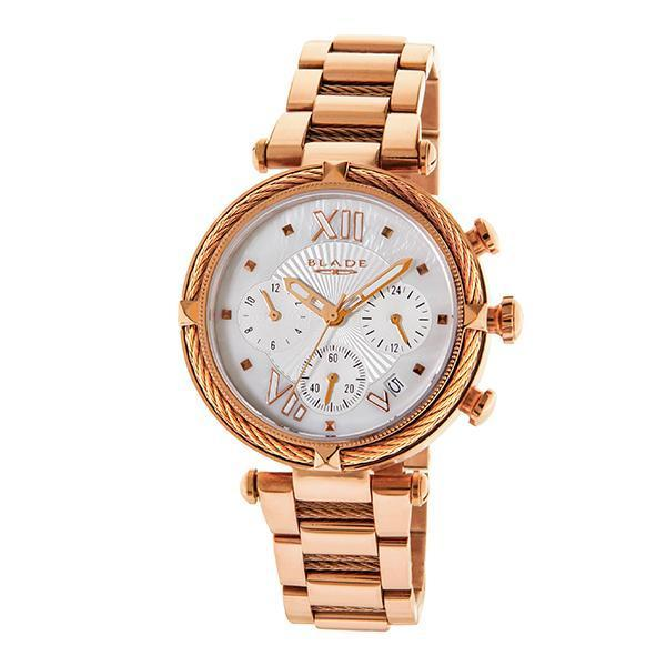 BLADE - Paradigm Rose - 3549L2RSR - Womens - 42mm PVD Rose Gold Plated Stainless Steel Case - White Dial - 18mm PVD Rose Gold Plated Stainless Steel Band - Dual Time Multifunction with Date Window - Hardened Mineral Glass - 3 ATM Water Resistant.