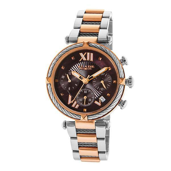 BLADE - Paradigm Ombre - 3549L2UOU - Womens - 42mm Two Tone Pvd Rose Gold Plated Stainless Steel Case - Brown Dial - 18mm Two Tone PVD Rose Gold Plated Stainless Steel Band - Dual Time Multifunction with Date Window - Hardened Mineral Glass - 3 ATM Water Resistant.