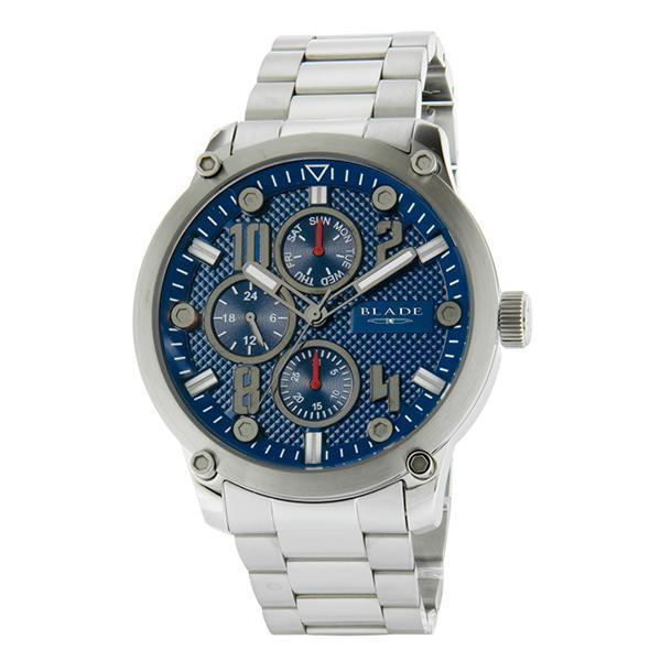 BLADE Combat II Blue - 3563G2SBS - Mens - 48mm Stainless Steel Case - Blue Dial - 20mm Stainless Steel Band - Dual Time Multifunction - Hardened Mineral Glass - 5 ATM Water Resistant.