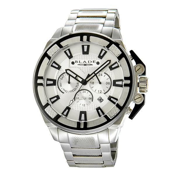 BLADE Crossfire Mono - 3575G2MSS - Mens - 53mm Stainless Steel Case - White Dial - 22mm Stainless Steel Band - Dual Time Multifunction with Date Window - Hardened Mineral Glass - 5 ATM Water Resistant.