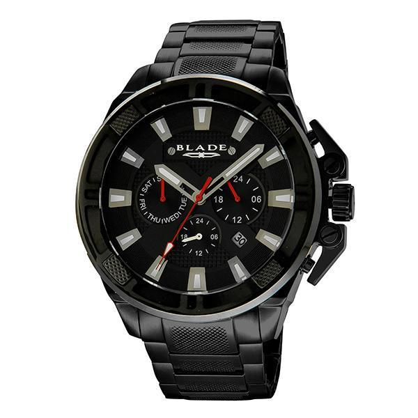 BLADE Crossfire Black - 3575G2NNN - Mens - 53mm PVD Black Plated Stainless Steel Case - Black Dial - 22mm PVD Black Plated Stainless Steel Band - Dual Time Multifunction with Date Window - Hardened Mineral Glass - 5 ATM Water Resistant.