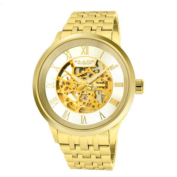 BLADE Men's Watch - Sempre SS - 3590G2GSG - 43mm Stainless Steel Case - Skeleton Automatic Mechanical - Stainless Steel Band - 5 ATM Water Resistant.