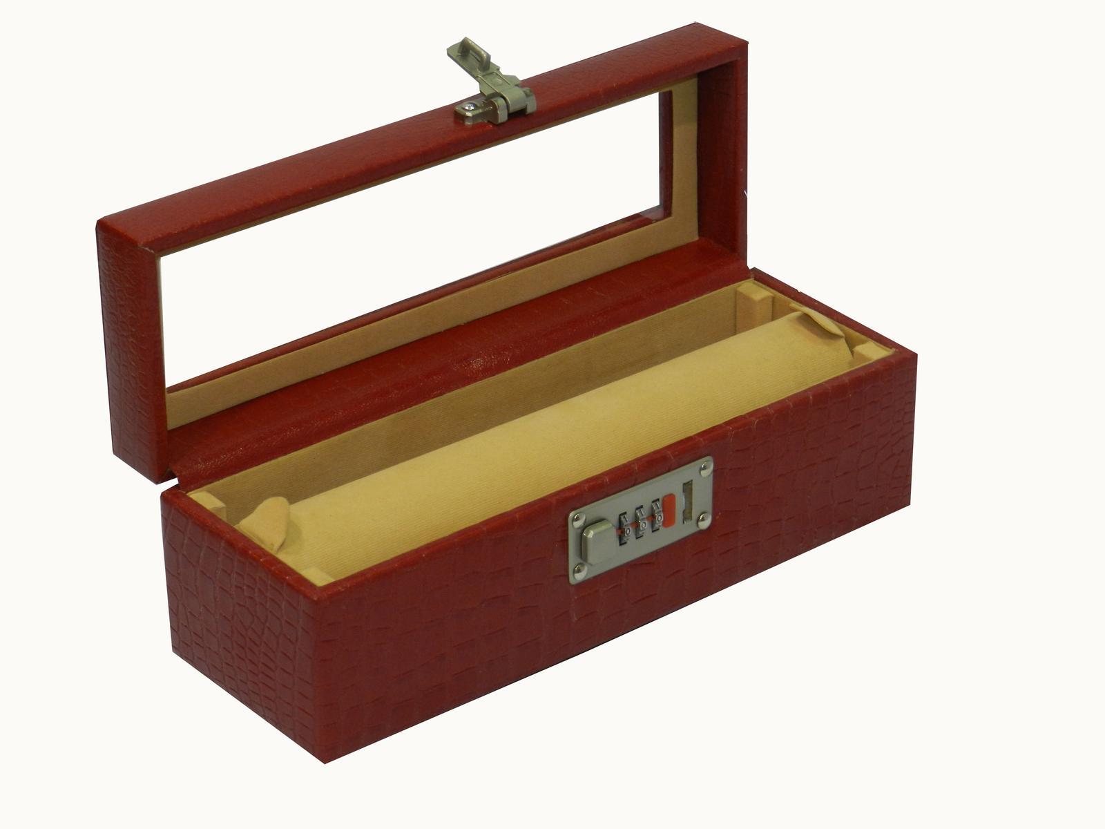 Laveri Genuine Leather Bracelet Jewelry Box with 1 Removable Rolls CHERRY