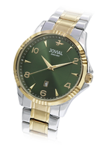 JOVIAL 5034GTMQ09E Men's Fashion Stainless Steel Band Watch, 42mm, Green