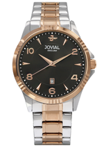 Jovial 5034GAMQ03E Men's Fashion Stainless Steel Band Watch, 42mm, Black