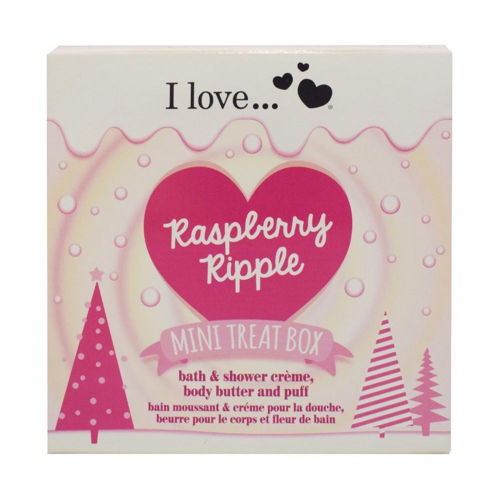 I Love Raspberry Ripple Bath Cream 100ml, Butter 50ml + Puff