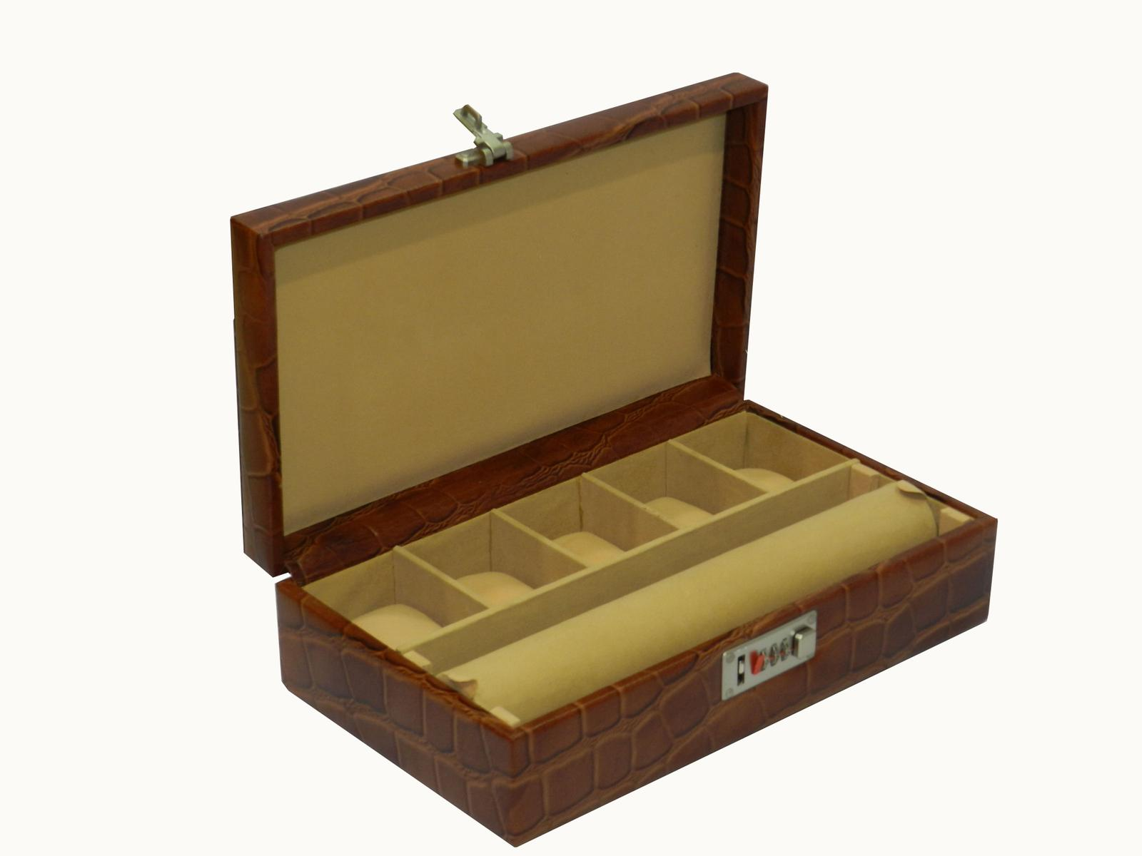 Laveri Genuine Leather Bracelet Jewelry Box with 1 Removable Rolls - Brown BROWN
