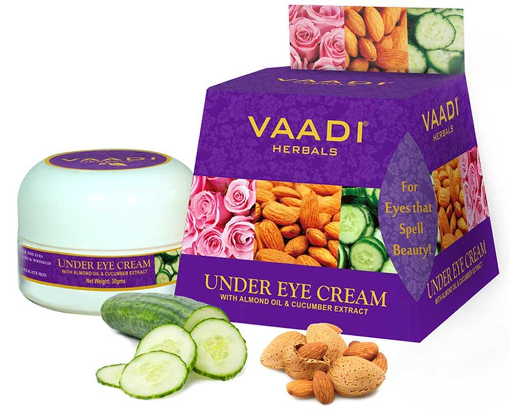 Vaadi Herbals Organic Under Eye Cream With Almond Oil & Cucumber Extract - Reduces Puffiness (30 Gms /1.1 Oz)