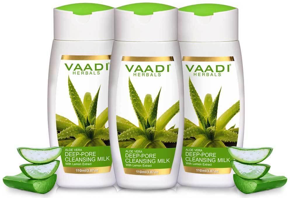 Vaadi Herbals Organic Aloe Vera Deep Pore Cleansing Milk With Lemon Extract - Cleanses Skin (110 Ml/ 4 Fl Oz)