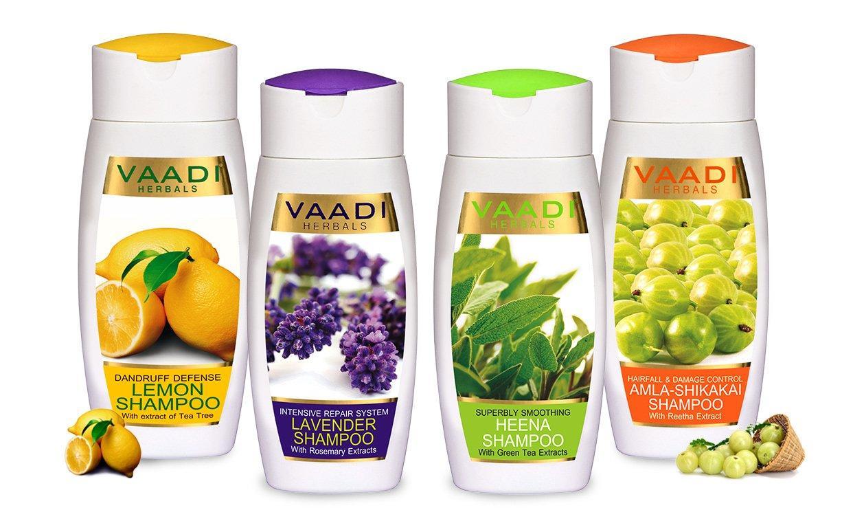 Vaadi Herbals Assorted Pack Of 4 Organic Shampoos (4 X 110 Ml/ 4 Fl Oz)