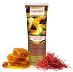 Vaadi Herbals Organic Papaya Scrub Gel With Honey & Saffron - Reduces Tan - Smoothens Skin Texture - Makes Skin Flawless (110 Gms / 4 Oz)