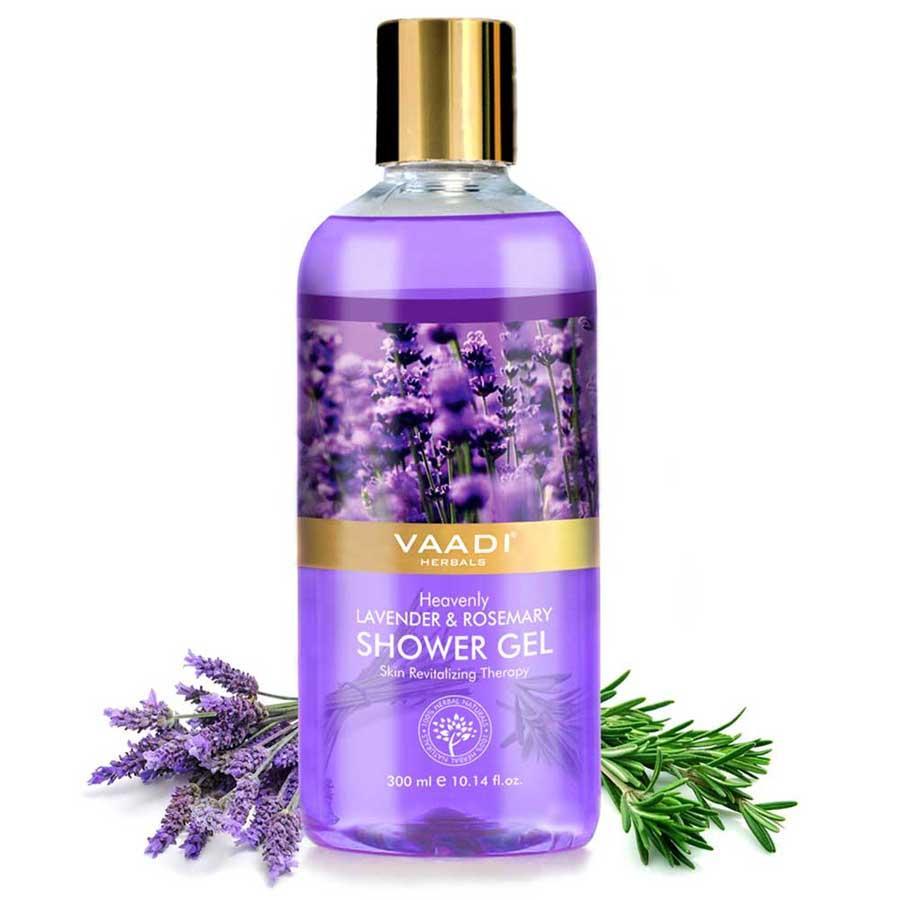 Vaadi Herbals Heavenly Organic Lavender & Rosemary Shower Gel - Skin Rejuvenating Therapy (300 Ml / 10.2 Fl Oz)