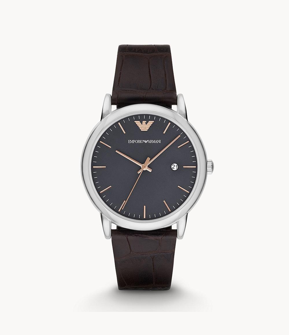 Emporio Armani Men's Grey Dial Leather Band Watch - Ar1996, Analog Display