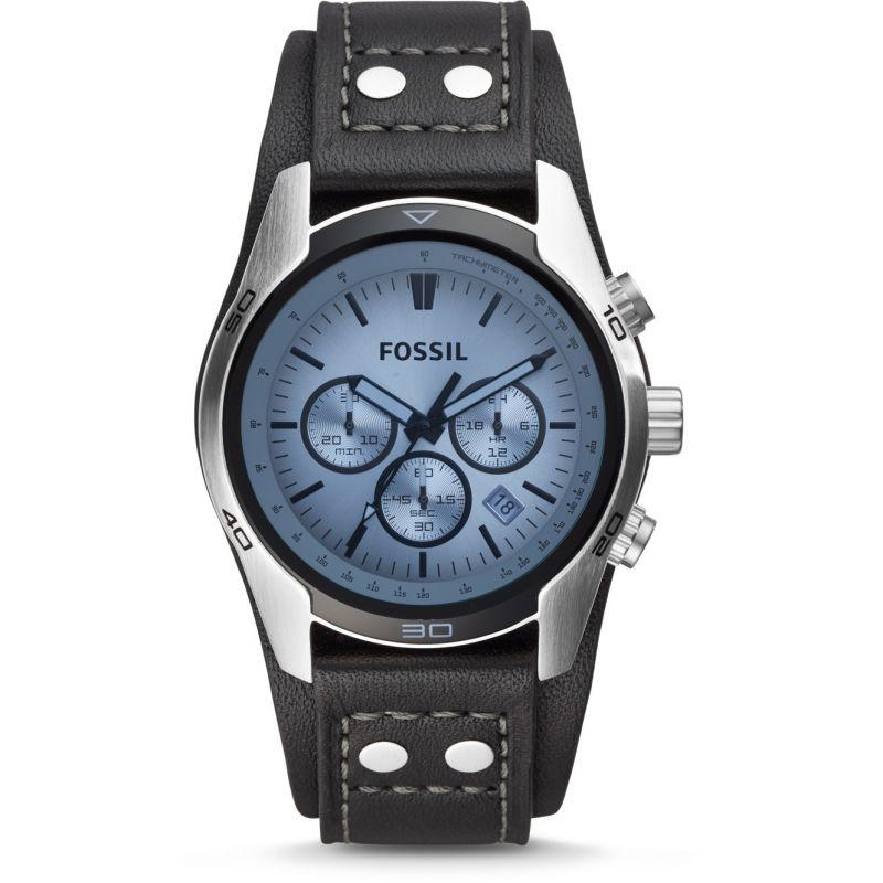 Fossil Men's Coachman Chronograph Leather Cuff Strap Watch CH2564