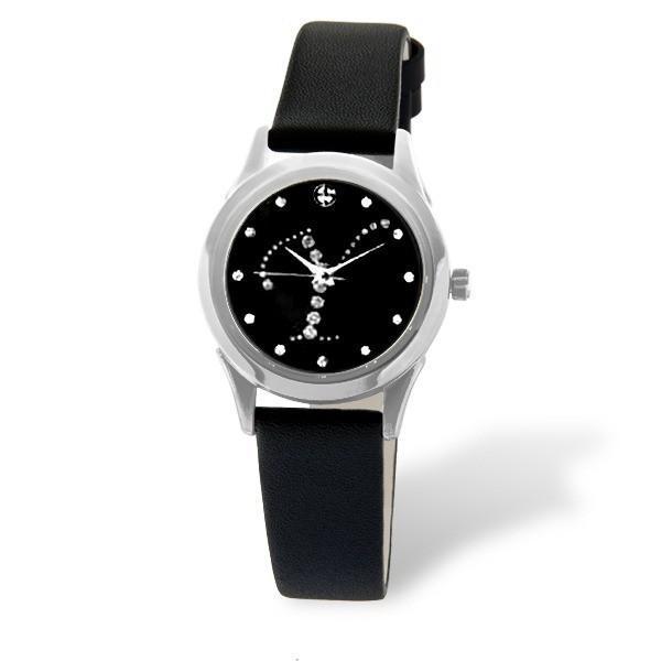 ELIZ Women's Eliz Iris ES15-7990LSNN-Y - Stainless Steel Case - Black Dial - Genuine Leather Strap - 3 ATM Water Resistant.