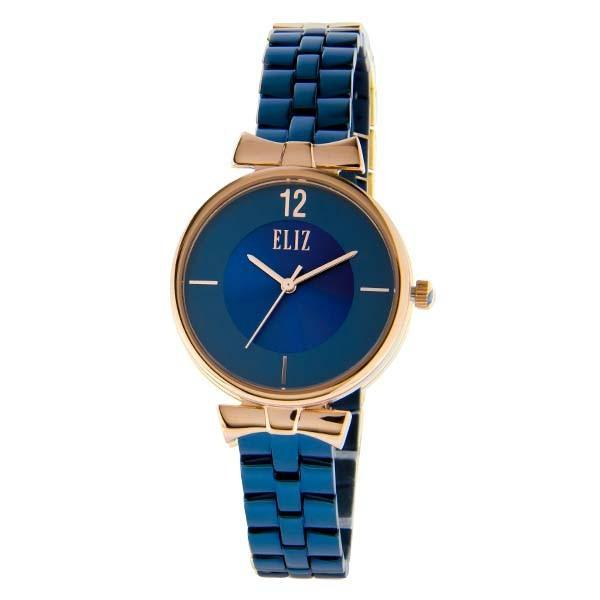ELIZ Women's Eliz Splendeur ES8628L2RBB - High quality minimalist fashion watches for women - Stainless Steel PVD Rose GoldÿPlating Case - Blue Dial - PVD Blue Plating Stainless Steel Band - 3 ATM Water Resistant.