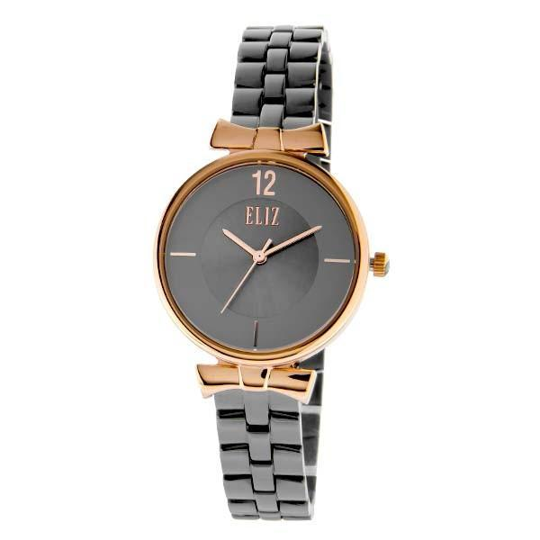 ELIZ Women's Eliz Splendeur ES8628L2RGG - High quality minimalist fashion watches for women - Stainless Steel PVD Rose Gold Plating Case - Grey Dial - PVD Gunmetal Plating Stainless Steel Band - 3 ATM Water Resistant.