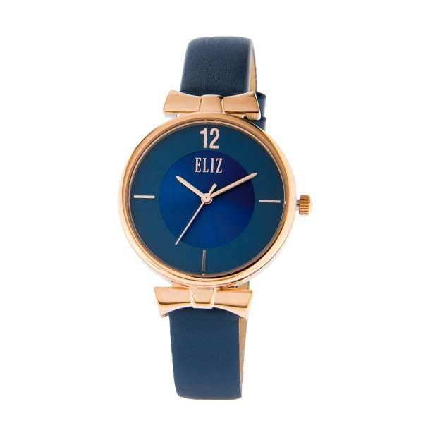 ELIZ Women's Eliz Splendeur ES8629L1RBB - High quality minimalist fashion watches for women - Stainless Steel PVD Rose Gold plating Case - Blue Dial - Genuine Leather Strap - 3 ATM Water Resistant.