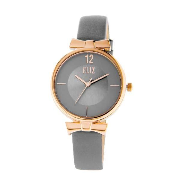 ELIZ Women's Eliz Splendeur ES8629L1RGG - High quality minimalist fashion watches for women - Stainless Steel PVD Rose Gold plating Case - Grey Dial - Genuine Leather Strap - 3 ATM Water Resistant.