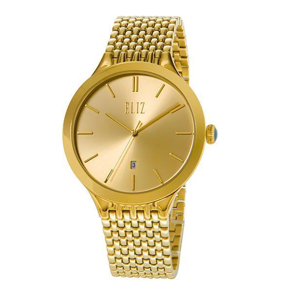 ELIZ Eliz ES8691G2GCG - Mens - 42mm PVD Gold Plated Stainless Steel Case - Champagne Dial - 20mm PVD Gold Stainless Steel Band - Center Seconds with Date Window - Hardened Mineral Glass - 3 ATM Water Resistant.