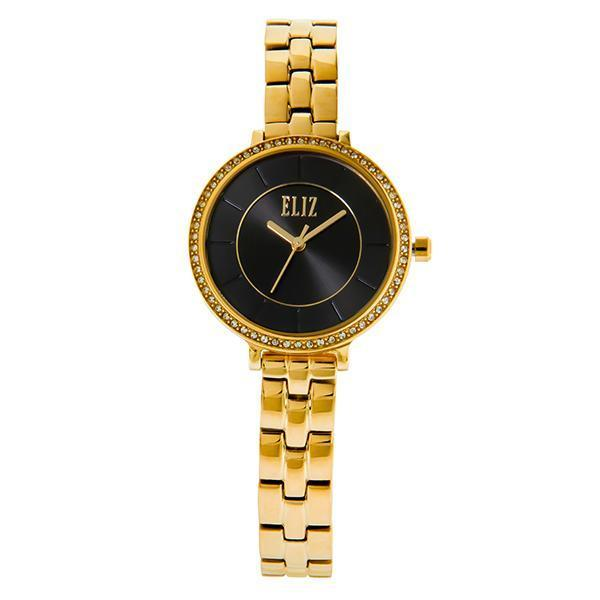 ELIZ Eliz ES8693L2GNG - Womens - 32mm PVD Gold Plated Stainless Steel Case - Black Dial - 10mm PVD Gold Plated Stainless Steel Band - Center Seconds with Date Window - Hardened Mineral Glass - 3 ATM Water Resistant.