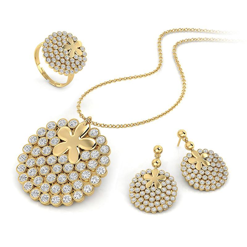 FIERRO 18K Gold Plated Pave Crystal Jewelry Set