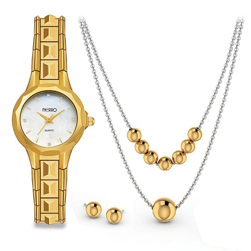 FIERRO Gold Plated Watch and Two-tone Jewelry Set