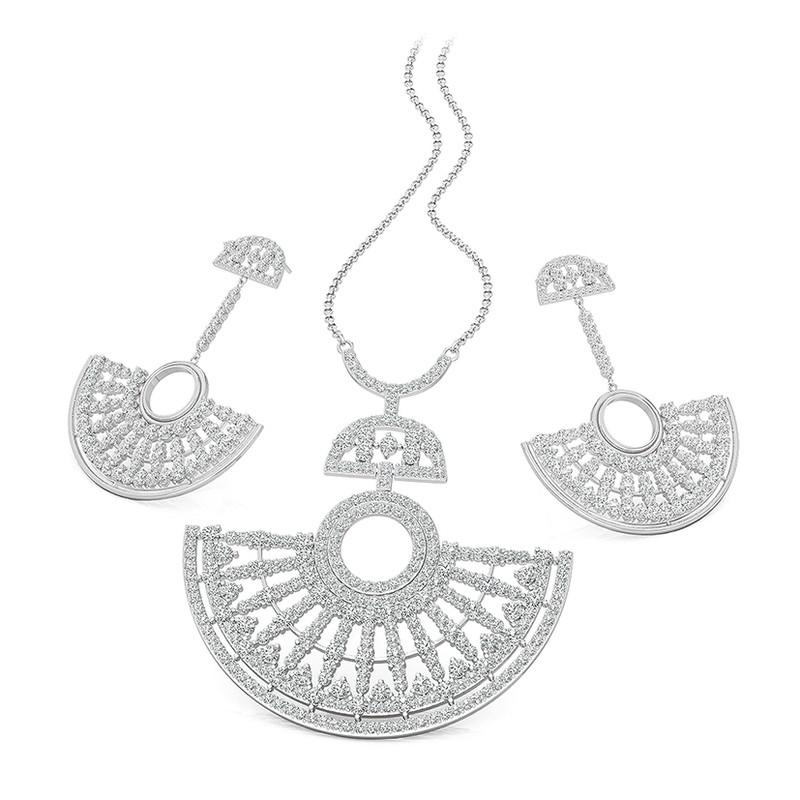 FIERRO Rhodium Plated Art Deco Jewelry Set