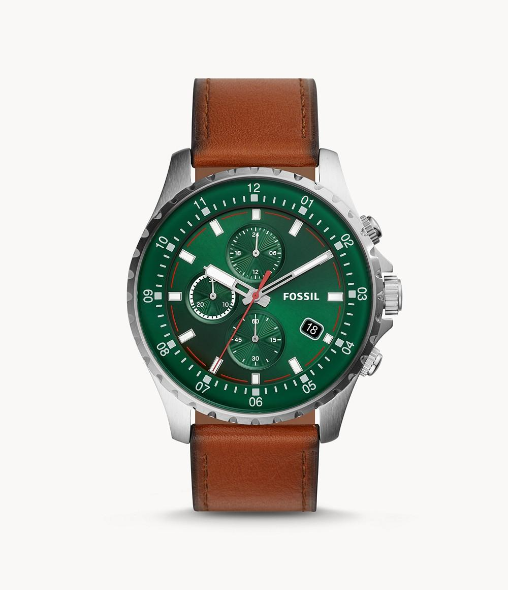 Fossil Men's Dillinger Chronograph Luggage Leather Watch FS5734