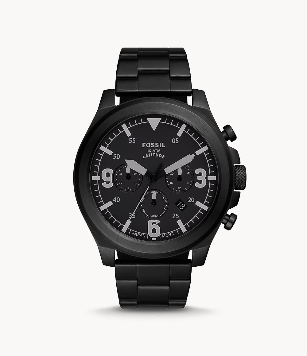 Fossil Men's Latitude Chronograph Black Stainless Steel Watch FS5754