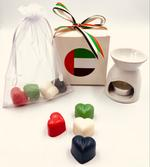 Heart Melt Candles UAE National Day Gift Set (Pure Soy Wax Melts-Amber Oud Scented with a Melts Burner )