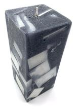 """Heart Melt Candles Black Marble Handmade Pillar Candle - Vanilla Scented, Marble Finish(6""""x2.5"""")"""
