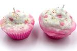 "Heart Melt Candles Cupcake Handmade Pillar Candles(Set of 2 Candles) - Strawberry Scented(2.5"" x2.5"")"