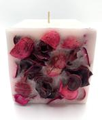 "Heart Melt Candles Floral Garden Handmade Pillar Candle - Lilly of Valley Fragrance, Dried Flowers embedded, (4""X 4"")"