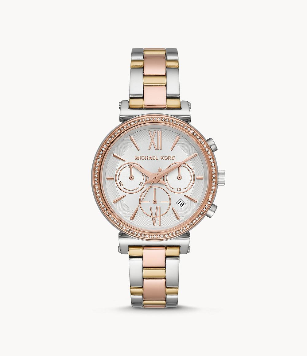 Michael Kors Womens Quartz Watch, Chronograph Display and Stainless Steel Strap MK6688
