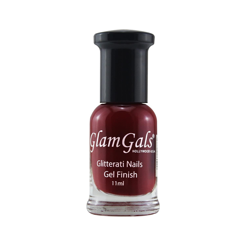 GLAMGALS HOLLYWOOD-U.S.A Gel Finished Glitterati Nails 11ML deep burgundy