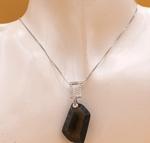 Sterling Silver Smoky Quartz Hexagon Pendant Necklace Necklace 19
