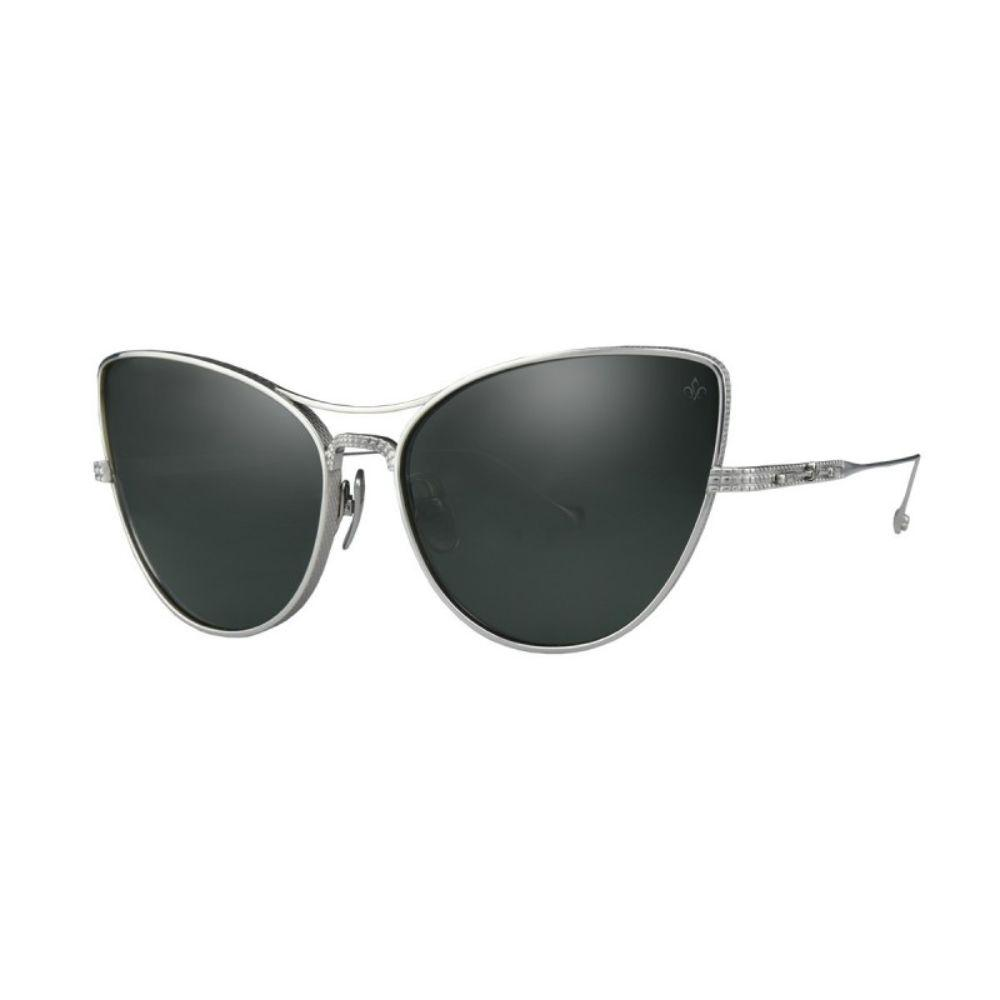 PHILIPPE V Sunglasses Women's Silver Frame and Geen lenses Sunglasses