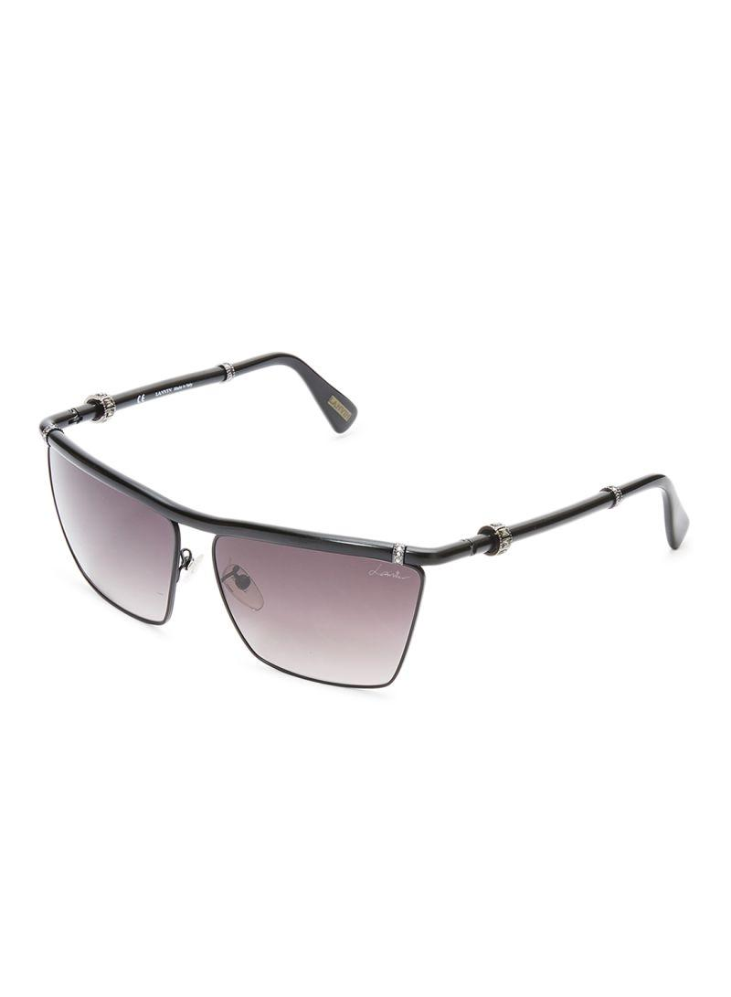 LANVIN PARIS Women's Square Sunglasses Frame Matte Black Lens Grey SLN005S-531 Size 62-13-135