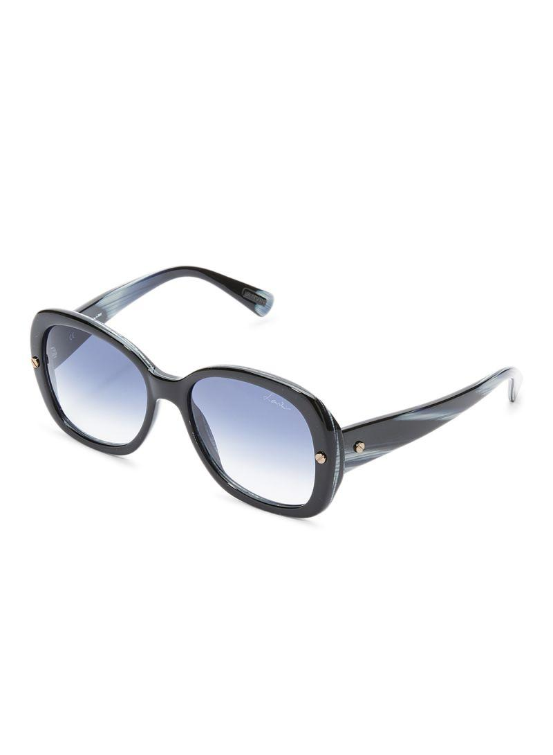 LANVIN PARIS Women's Oval Shape Marble Black White Blue DESIGNER Sunglasses Black Frame Lens Blue SLN500-55-J46 Size 55x18x140mm