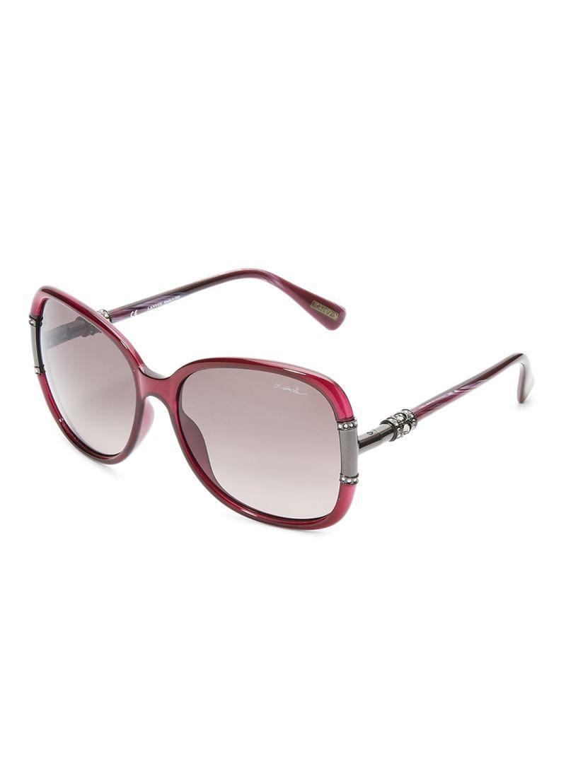 LANVIN PARIS Oval Shape Wrap Women's Sunglasses Purple Frame and Lens Color Grey SLN508S-60-9PW Size 60-17-130mm