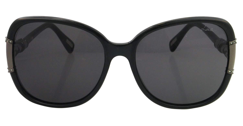 LANVIN PARIS Oval Shape Wrap Women's Sunglasses Black Frame and Lens Color Grey SLN508S-60-Z42 Size 60-17-130mm
