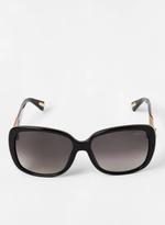Lanvin Women's Square Sunglasses with Art Deco Gemstone Temple Detail in Black
