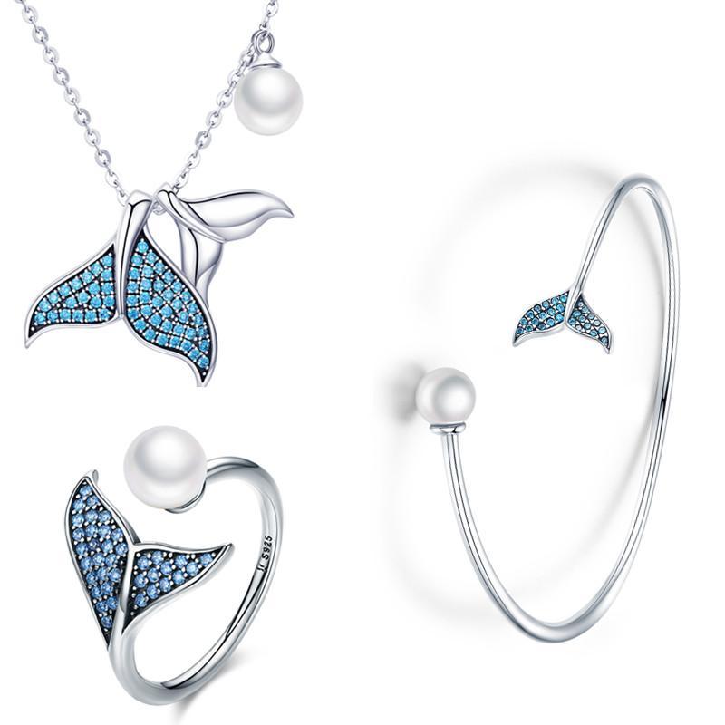 Women Fishtail 925 Silver Jewelry Set Set 2
